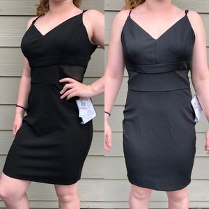 Black Bodycon Cocktail dress with Sheer Cutouts